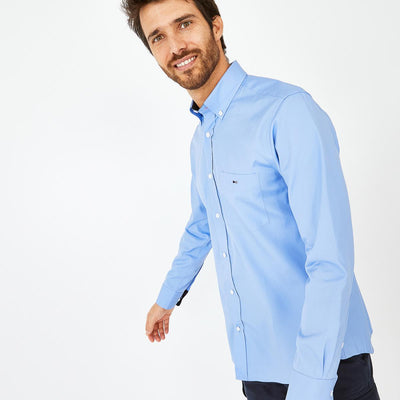 Blue cotton shirt with tricolour accents