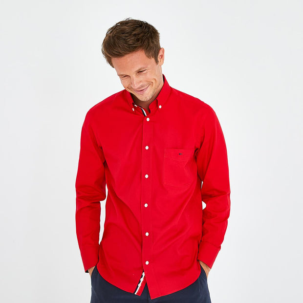 Red cotton shirt with tricolour accents