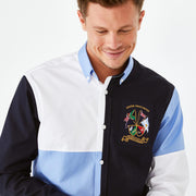 Colour-block cotton shirt with badge