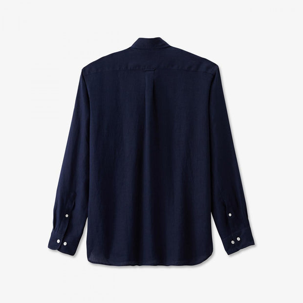 Unicolour navy blue linen shirt