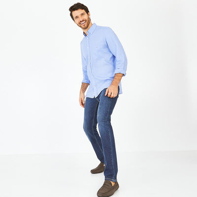 Unicolour blue linen shirt