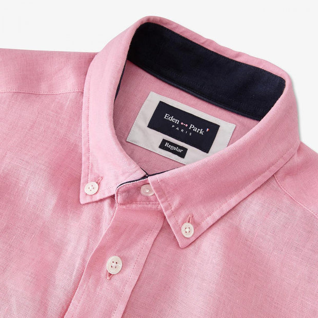 Unicolour pink linen shirt