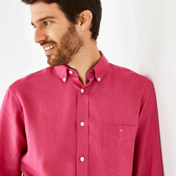 Unicolour fuchsia linen shirt