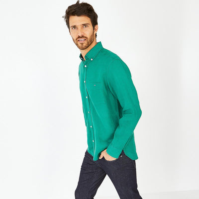 Unicolour green linen shirt