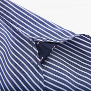 Striped navy blue cotton poplin shirt