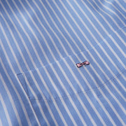 Striped light blue cotton poplin shirt