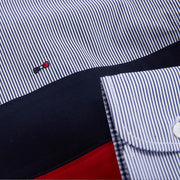 Red striped poplin shirt with contrast bands