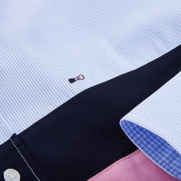 Pink striped poplin shirt with contrast bands
