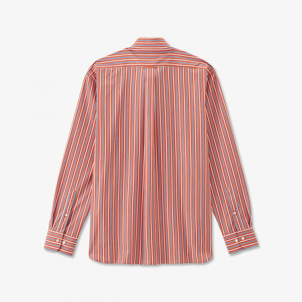 Red striped poplin shirt