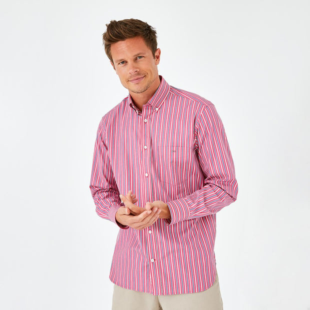 Pink striped poplin shirt