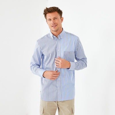 Blue poplin shirt with mismatched stripes