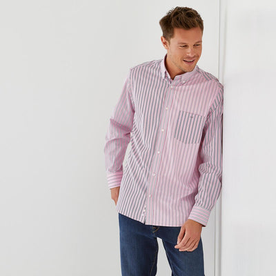 Pink poplin shirt with mismatched stripes