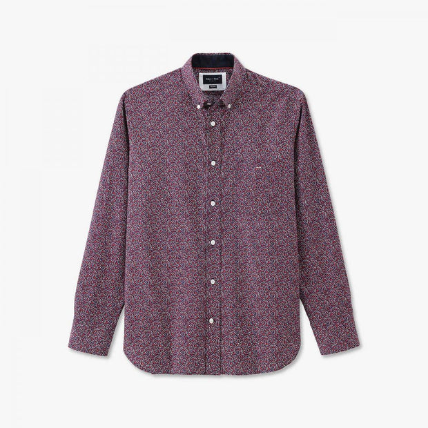 Cotton shirt with pink floral micro-pattern
