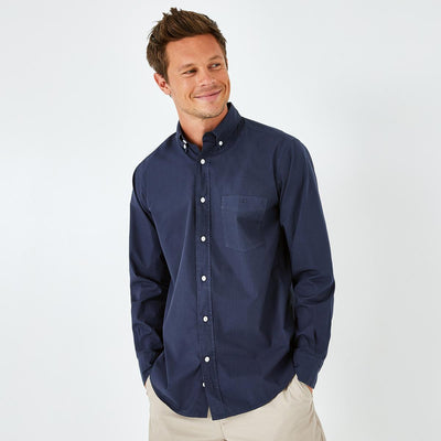 Unicolour navy blue Pima cotton poplin shirt