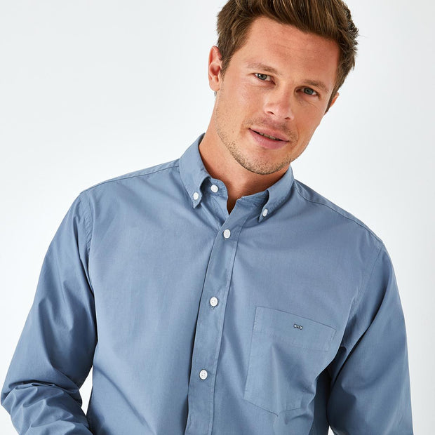 Unicolour blue Pima cotton poplin shirt