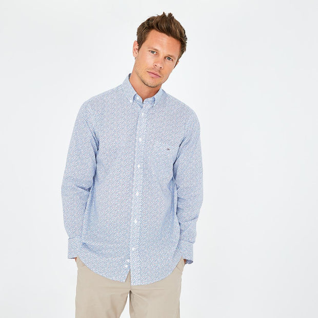 Blue cotton shirt with floral micro-pattern