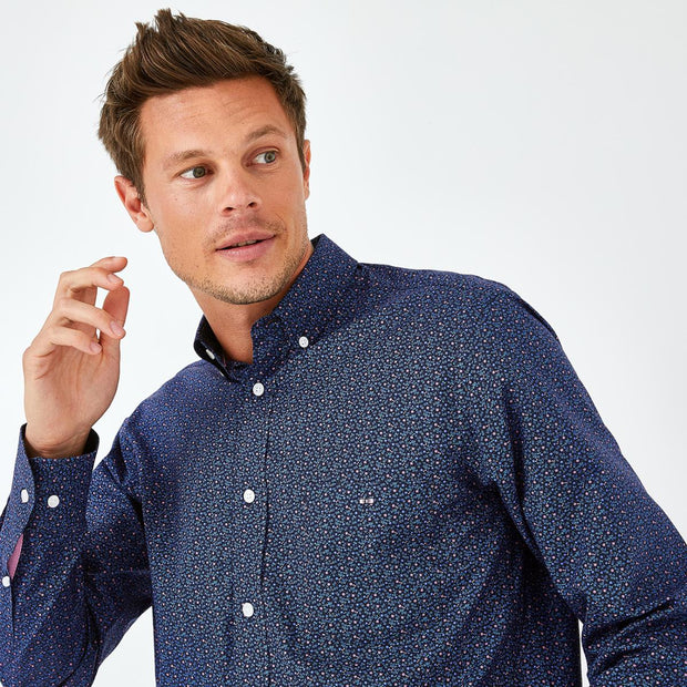 Navy blue cotton shirt with floral micro-pattern