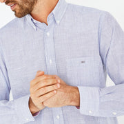 Striped sky blue textured cotton shirt
