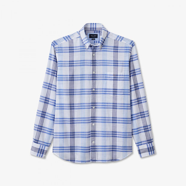 Blue wide check cotton shirt