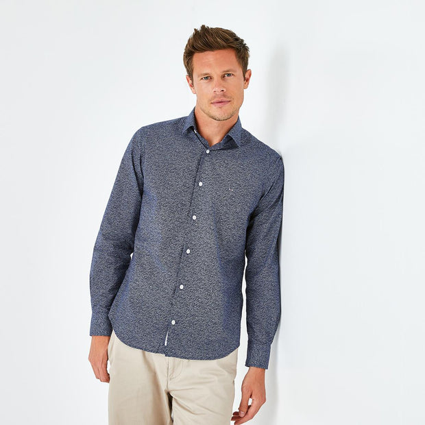 Slim fit print navy blue shirt