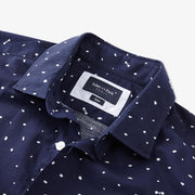 Slim fit polka dot navy blue cotton shirt