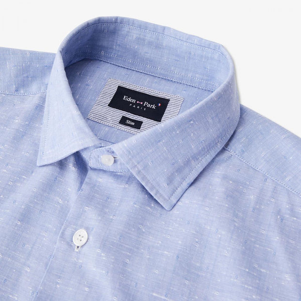 Slim fit sky blue textured cotton shirt