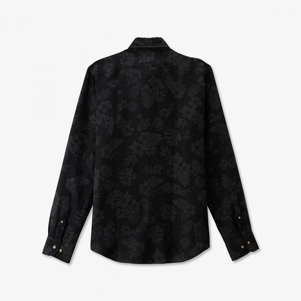 Slim fit black linen shirt with foliage pattern