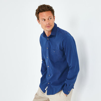Slim fit dark blue denim shirt