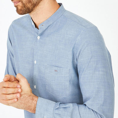 Slim fit light blue heathered denim shirt