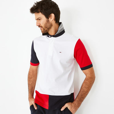 Short-sleeved white colour-block cotton rugby shirt