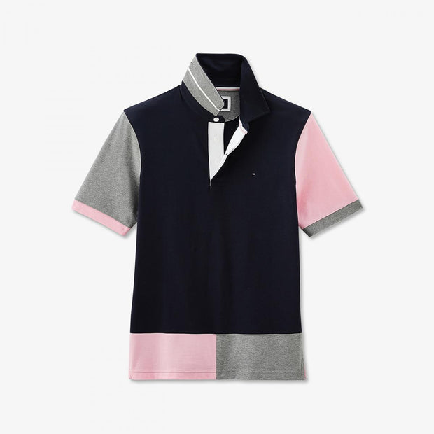 Short-sleeved navy colour-block cotton rugby shirt