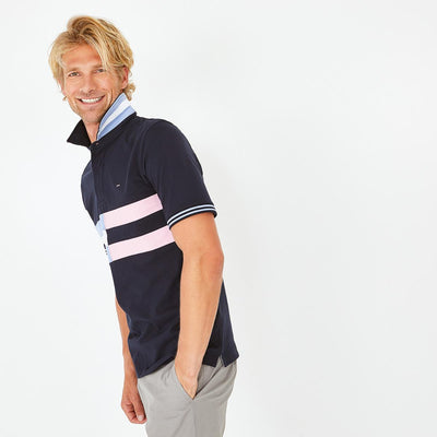 Short-sleeved striped cotton rugby shirt