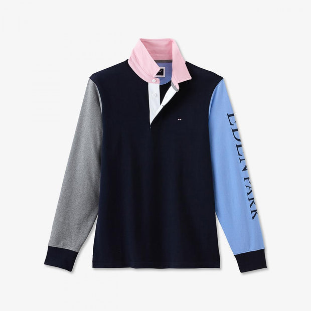 Blue cotton rugby shirt with mismatched sleeves