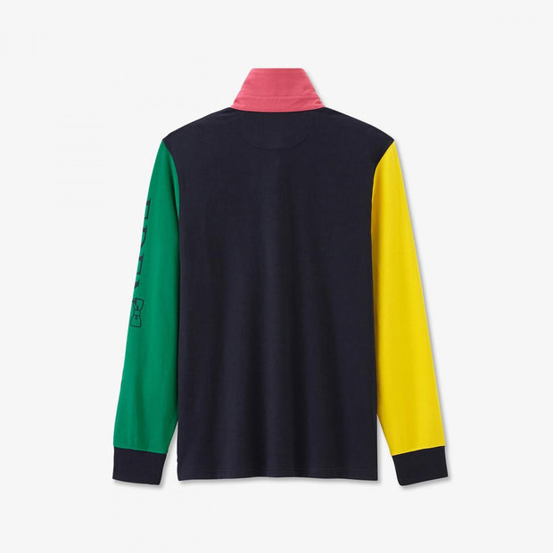 Green cotton rugby shirt with mismatched sleeves