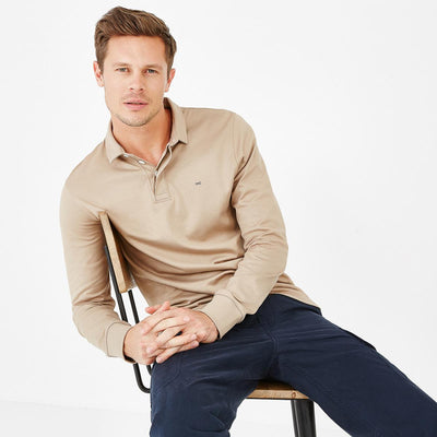 Slim fit unicolour beige Pima cotton rugby shirt