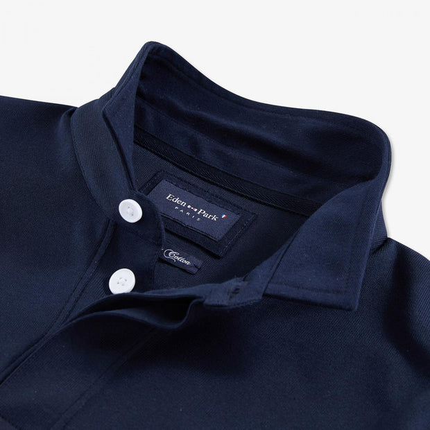 Slim fit navy blue Pima cotton rugby shirt