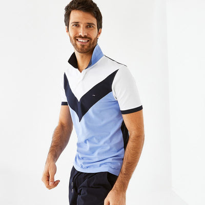 Blue colour-block Pima cotton piqué polo