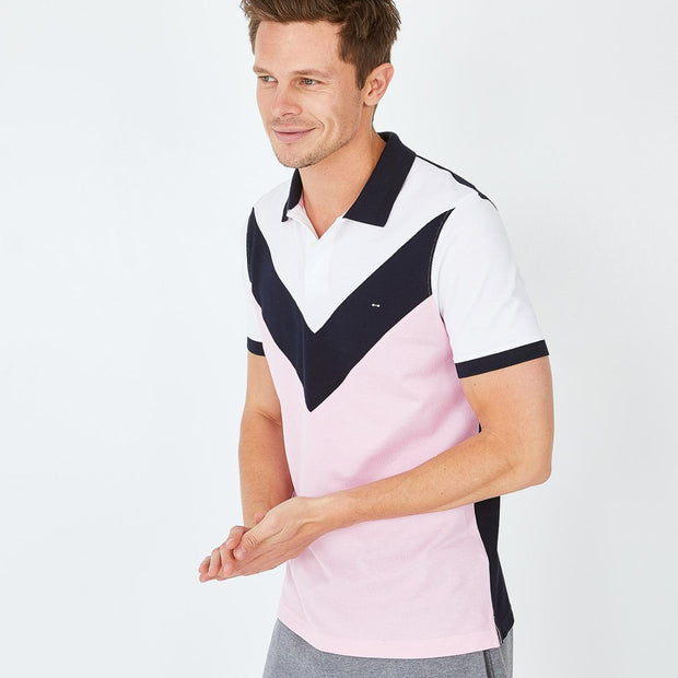 Pink colour-block Pima cotton piqué polo
