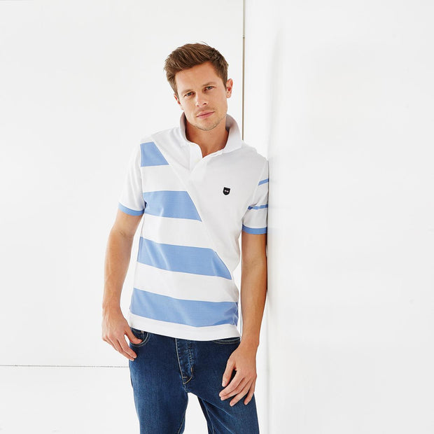 Cotton polo with mismatched blue stripes