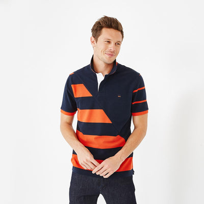 Cotton polo with mismatched orange stripes