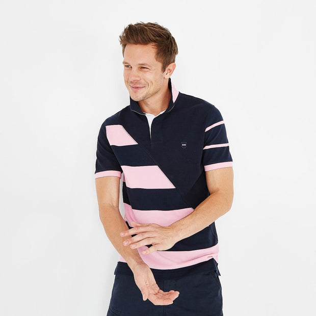 Cotton polo with mismatched pink stripes