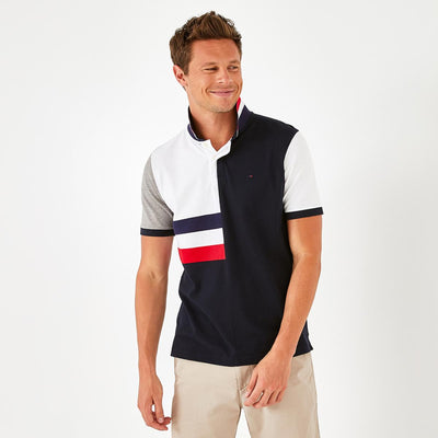 Navy blue colour-block Pima cotton polo