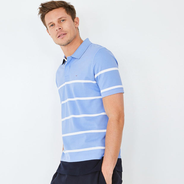 Striped sky blue Pima cotton polo