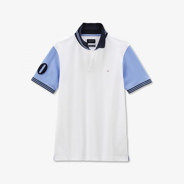 White cotton polo with contrasting blue sleeves