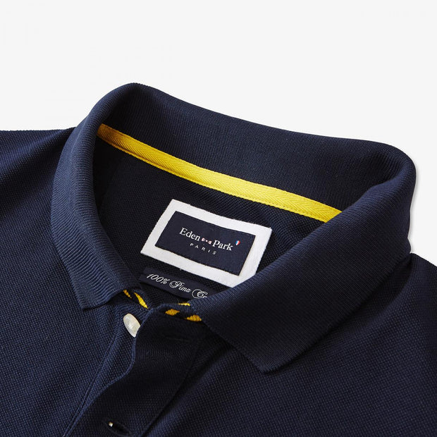 Navy blue cotton polo with contrasting yellow sleeves