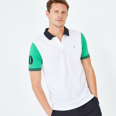 White cotton polo with contrasting green sleeves