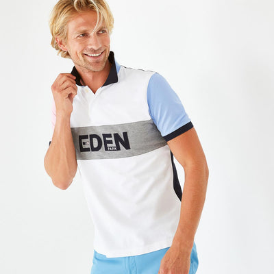 White colour-block cotton polo with lettering