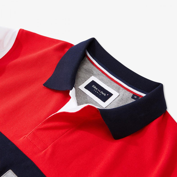 Red colour-block cotton polo with lettering