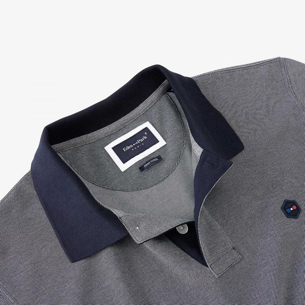 Heathered blue Pima cotton Hexa polo