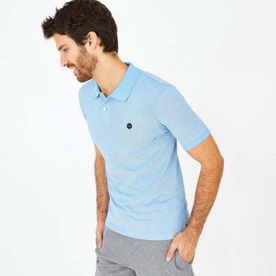 Light blue Pima cotton Hexa polo